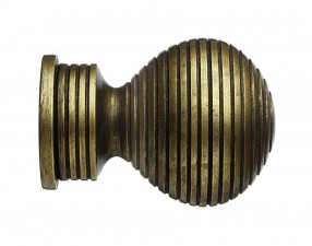 Black Gold Ribbed Ball finial